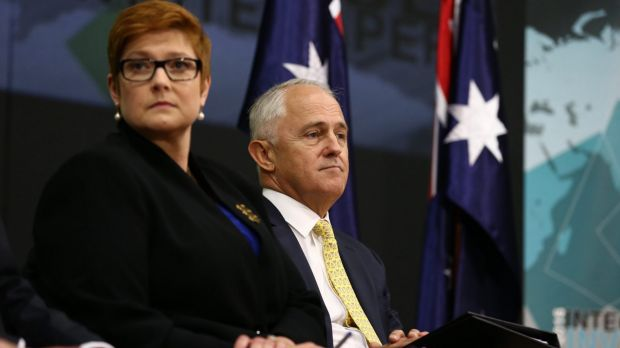 Prime Minister Malcolm Turnbull launches his 2016 Defence white paper with Defence Minister Marise Payne backed by just ...