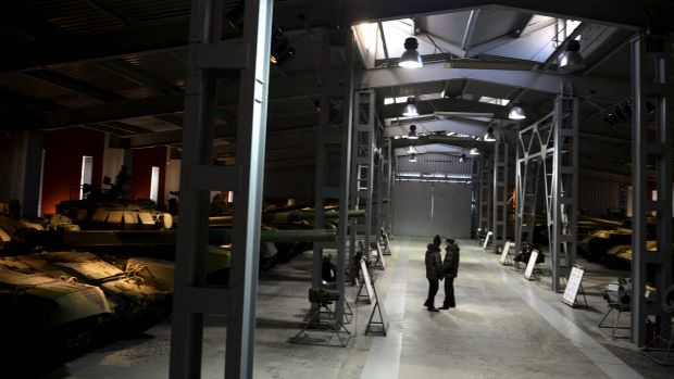 Visitors check out a tank museum at Uralvagonzavod, a major factory in Nizhny Tagil, Russia.