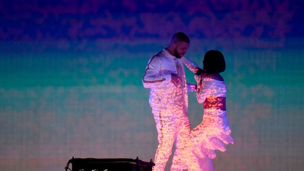Rihanna and Drake perform on stage at the BRIT Awards 2016 at The O2 Arena on February 24, 2016 in London, England.
