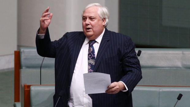 Clive Palmer during question time on Thursday.