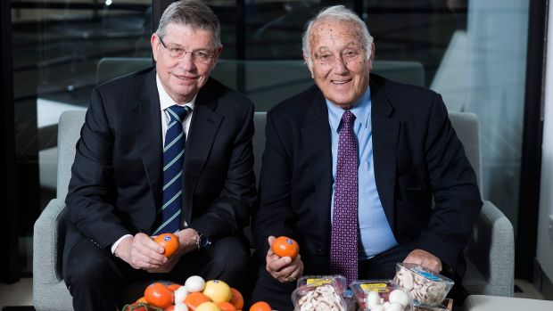 Costa Group chief executive Harry Debney with the company's founder Frank Costa.