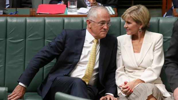 Prime Minister Malcolm Turnbull and Minister for Foreign Affairs Julie Bishop during question time on Thursday.