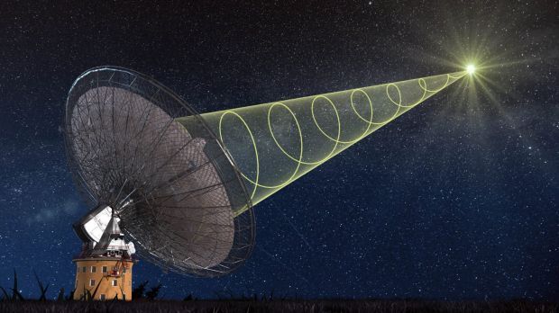 An artist's impression of the Parkes radio telescope receiving a fast radio burst from outer space.
