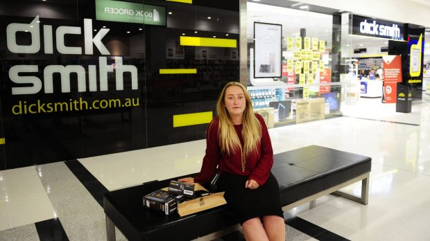 Dick Smith customer Philippa Simpson outside the Majura Park store shortly after the chain's closures were announced on ...