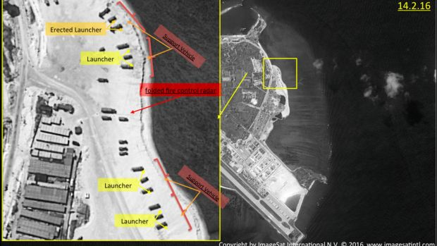Annotated satellite images of Woody Island, the largest of the Paracel Islands in the South China Sea. A US official ...