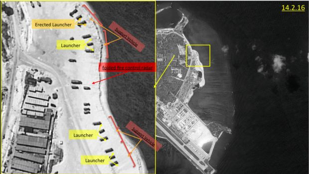 This image with notations provided by ImageSat International N.V., in February shows satellite images of Woody Island. A ...