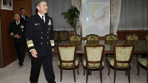 US Navy Admiral Harry Harris, commander of the United States Pacific Command, arrives for a meeting at the Defence ...