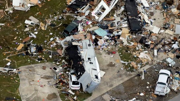 This aerial photo shows damage after a tornado ripped through the Sugar Hill Recreational Park in the town of Convent in ...