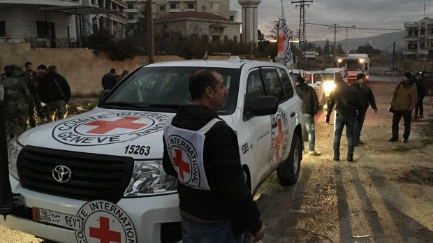 A convoy containing food, medical items, blankets and other materials being delivered in January.