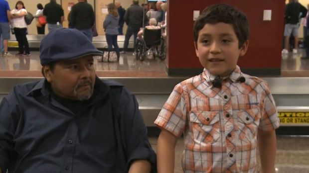 Giovanni, the seven-year-old boy who was kicked off a plane in the US.