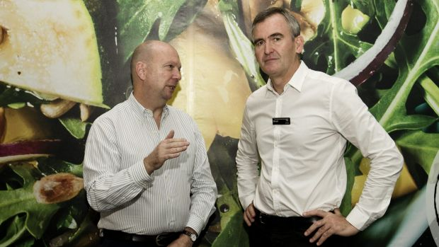 Newly appointed Woolworths chief executive  Brad Banducci, right, with company chairman Gordon Cairns  in a food store ...
