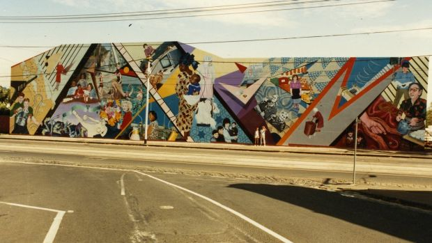 The Smith Street feminist mural before a graffiti vandal destroyed it.