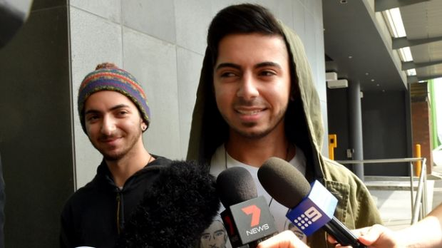 Arman and Max Jalal outside court on Thursday.