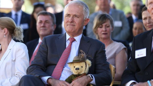 Prime Minister Malcolm Turnbull holds Trooper Jones, the light horse fundraising bear, during a visit to Soldier On in ...
