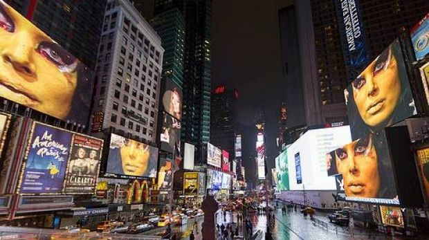 Projection art by Anthony and the Johnsons across Times Square, New York.