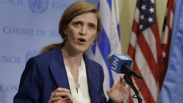 Samantha Power, US Ambassador to the United Nations, talks to media during a break in UN Security Council consultations ...