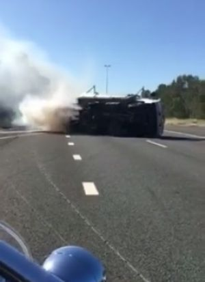 A truck has rolled over on the Sunshine Motorway near Mountain Creek.