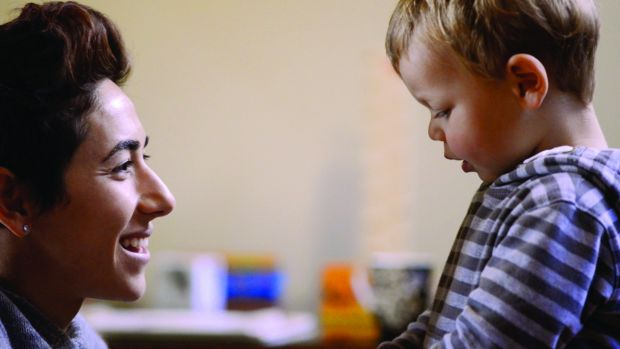 Lydia Lassila with her son Kai in a scene from <i>The Will to Fly</i>.