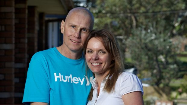 Troy Waters ex boxing champion who is suffering from a progressive form of leukaemia is photographed with his wife ...