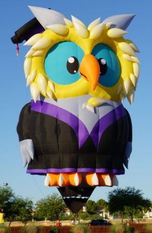 Owlbert Eyenstein, a larger than life cartoon owl, is coming to the Canberra Balloon Spectacular.