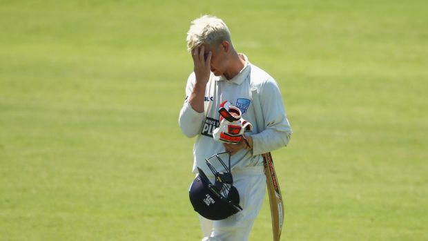 Tough day: Blues batsman Nic Maddinson trudges off after being dismissed against South Australia.