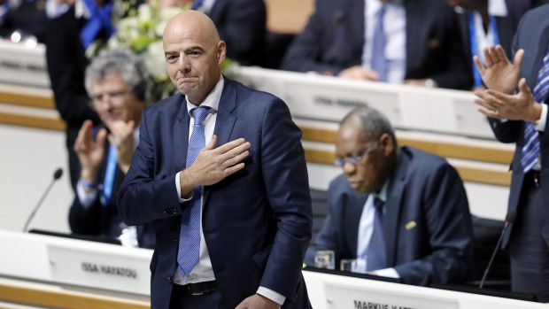Honoured ... Gianni Infantino of Switzerland reacts after being elected as the FIFA president during an extraordinary ...