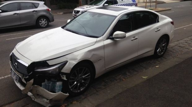The car that allegedly rammed an ambulance and other cars, which was found in Domain Street, South Yarra.