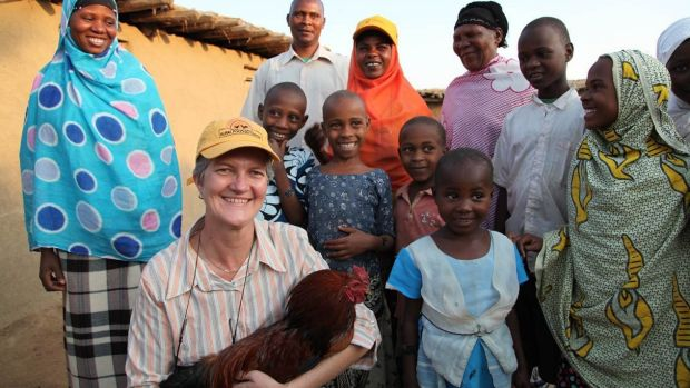 Robyn Alders at work in a village in central Tanzanian.