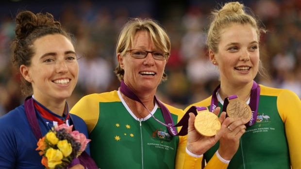 Sue Powell, centre, with the women's individual C4 pursuit gold medal she won at the 2012 London Paralympics.