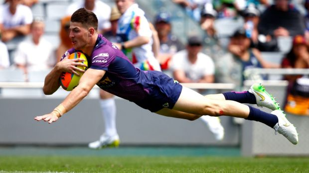 Airborne: Curtis Scott was a standout for the Storm at the Auckland Nines, even though the team was not successful.