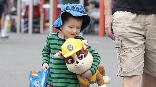 Wesley Kerr, 2, with his Paw Patrol showbag that included Rumble the dog.