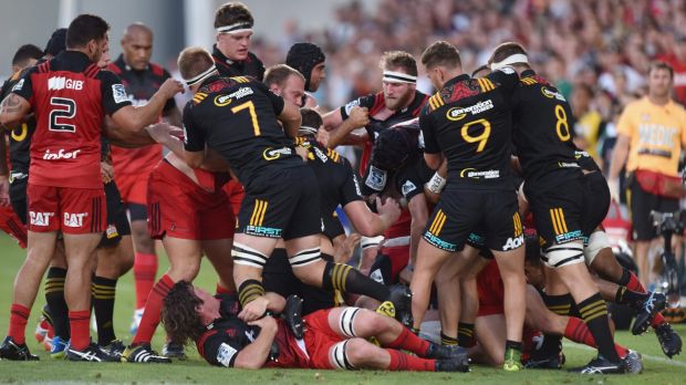 Tempers fray: a fight breaks out during the Super Rugby match between the Crusaders and the Chiefs at AMI Stadium.
