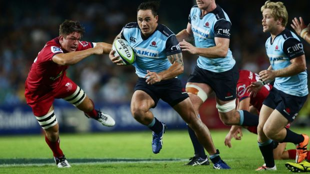 New colours: Zac Guildford makes a break during the round one Super Rugby match between the Waratahs and the Reds at ...