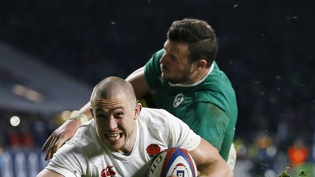 Mike Brown crosses the line for England's second try.