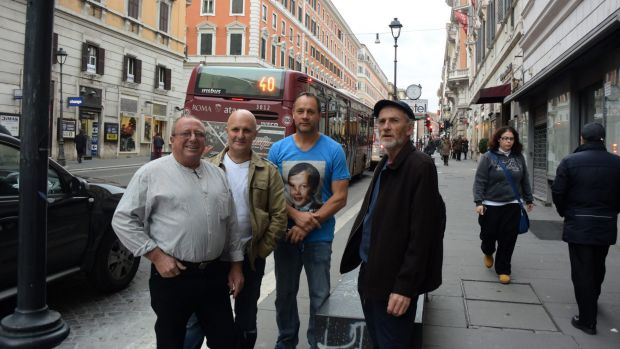 Abuse survivors Tony Warldey, Andrew Collins, Peter Blenkiron and Paul Auchettl in Rome.