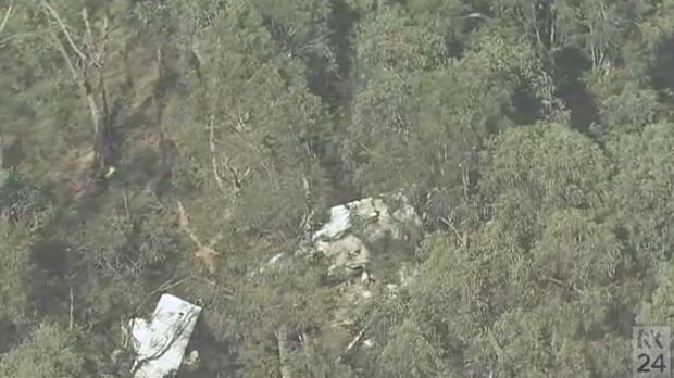 The wreckage of Rodney Hay's plane, which crashed in the Blue Mountains on Saturday.