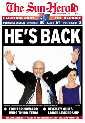The cover of the Sun Herald after John Howard's 2001 victory.