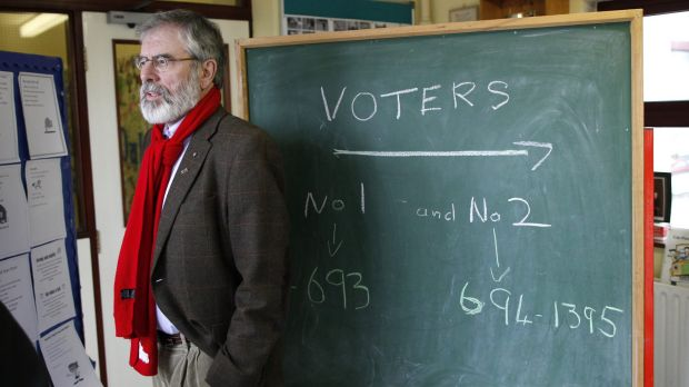 Sinn Fein party leader Gerry Adams  at a polling station in Ravensdale. His party's vote rose.
