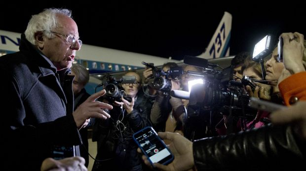 Vermont senator Bernie Sanders speaks to the media after arriving in Minnesota about his defeat in South Carolina.