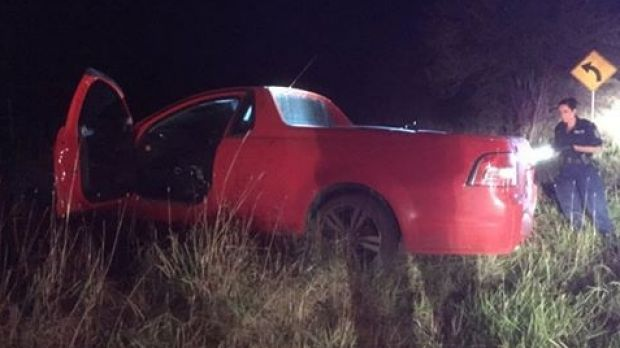The ute crashed into a dirt embankment near Goulburn.