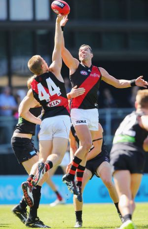 Ryan Crowley, right, was one of the few top-up Bombers to play on Sunday.
