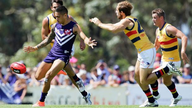 Kicking clear: Fremantle forward Michael Walters.