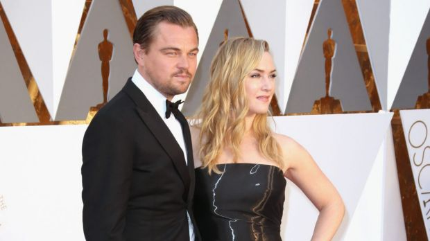 "Actors Leonardo DiCaprio and Kate Winslet pull the old ""Jack and Rose"" thing again at the 88th Annual Academy Awards."