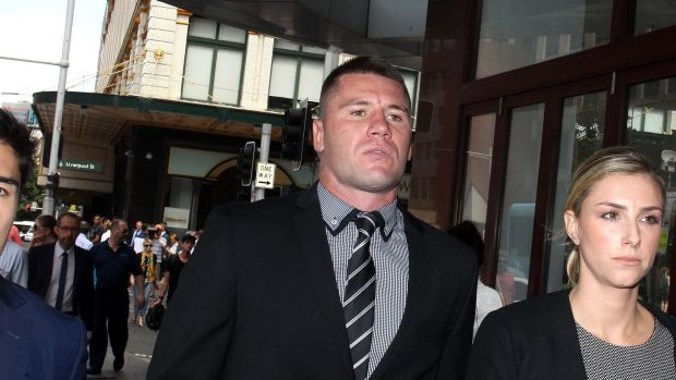 Shaun Kenny-Dowall leaves court after being found not guilty of the assault of Jessica Peris on Monday.