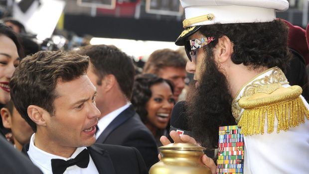 "Baron Cohen famously tipped a gold urn containing ""the ashes of Kim Jong-iI"" over the furious pint-sized presenter's ..."