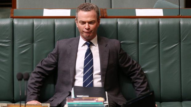 Claimed $5000 in travel expenses: Minister Christopher Pyne during question time at Parliament House in Canberra.