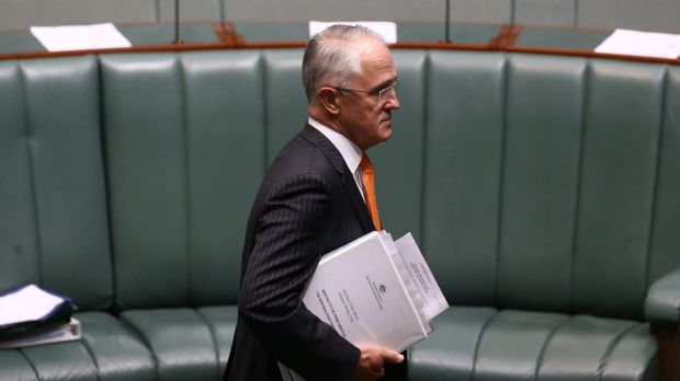 Prime Minister Malcolm Turnbull arrives for question time on Monday.