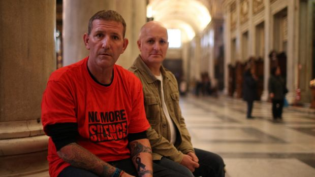 Paul Levey and Andrew Collins, victims of child abuses involved in the Cardinal Pell case inside the Cathedral of Santa ...