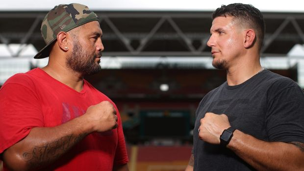 UFC Fighters Mark Hunt and Frank Mir face off during a media opportunity at Suncorp Stadium on February 2, 2016 in ...