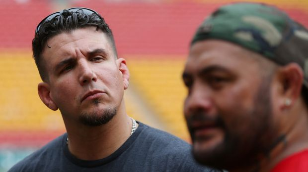 UFC Fighters Frank Mir and Mark Hunt at Suncorp Stadium.